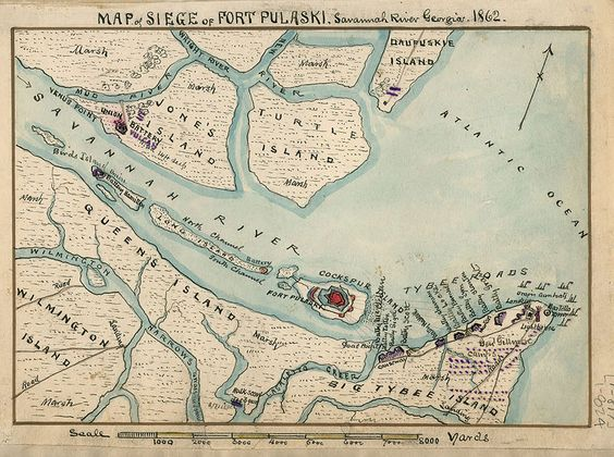 Map Of Siege Of Fort Pulaski Savannah River Georgia The - Map 0f georgia