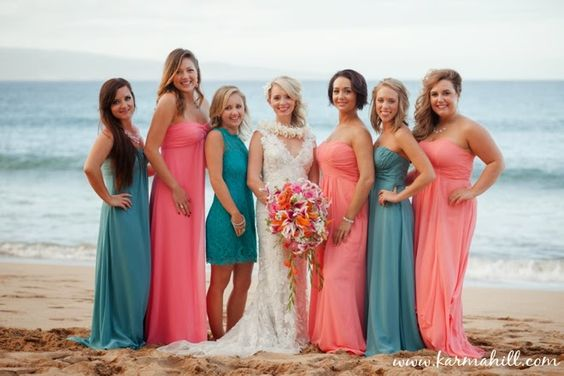 Pink bridesmaid dresses turquoise and wedding party for Coral bridesmaid dresses for beach wedding