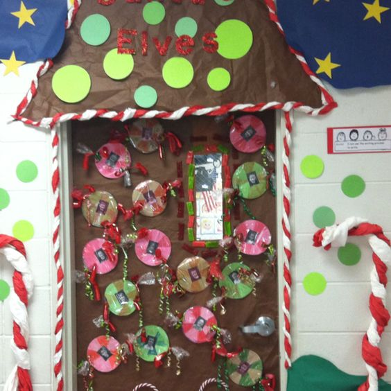 School Office Decor Christmas Gingerbread House Door: Diy Christmas Classroom Door Decorations