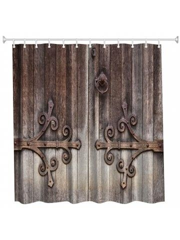 Carving Door Polyester Shower Curtain Bathroom Curtain High Definition 3d Printing Water Proof Old Wooden Doors Rustic Doors Wooden Doors