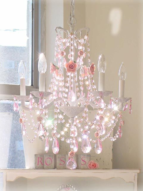 Pink Chandelier would make such a big difference in a girl's room - add some sheer drapings over the bed and windows and voila - a princess room!