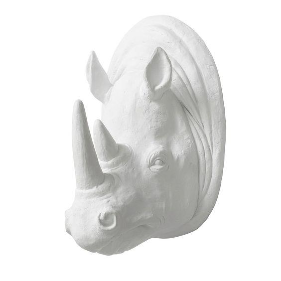 Nordal Rhino Muurdecoratie Wit - Neushoorn 64,95