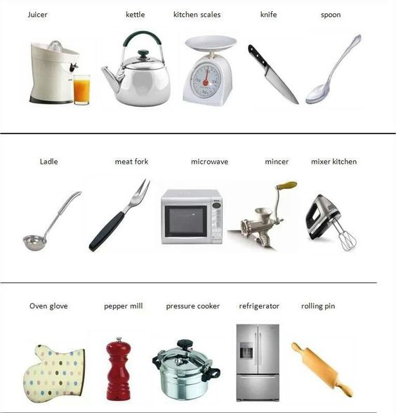 Vocab kitchen tools volcabulario de ingles pinterest for Kitchen equipment and their uses
