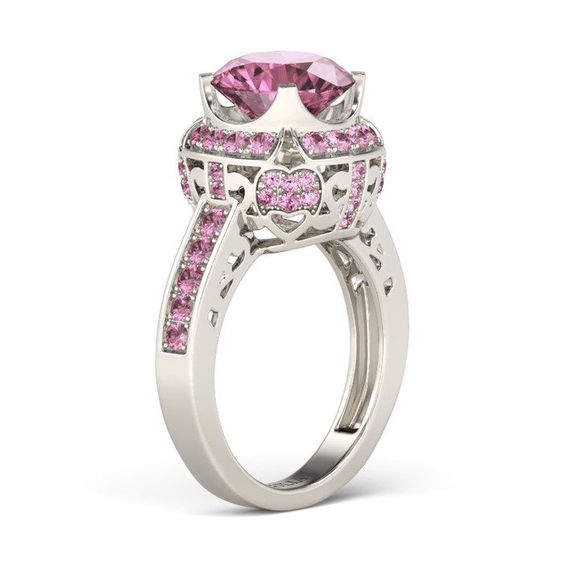 Classic Round Cut Created Pink Sapphire Rhodium Plated Sterling Silver Women's Engagement Ring