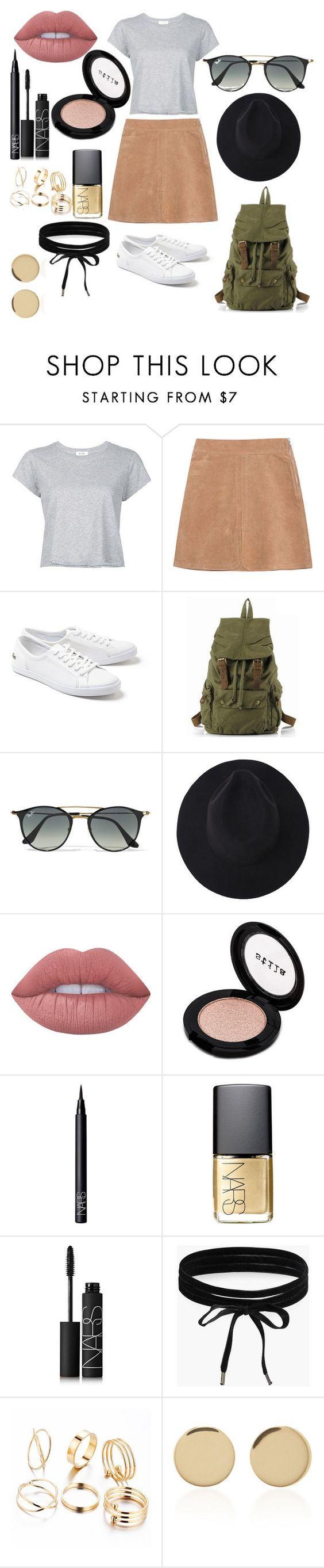 """""""Untitled #86"""" by kailey-peters ❤ liked on Polyvore featuring RE/DONE, See by Chloé, Lacoste, Ray-Ban, Lime Crime, Stila, NARS Cosmetics, Boohoo and Magdalena Frackowiak"""