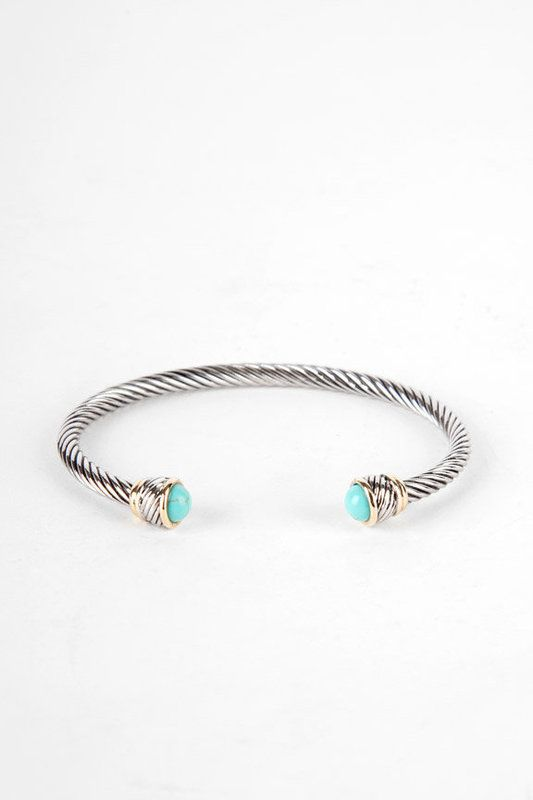 Thick Cable Bracelet with Turquoise Stone