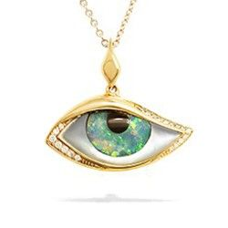"""Yellow Gold Kabana """"Mati"""" Eye Pendant with Onyx, Opal, White Mother of Pearl Inlay and Diamonds (Chain Included) - New From Na Hoku - Shop"""
