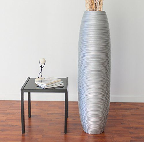 Cheap Leewadee Tall Floor Vase 44 Inches Wood Silver
