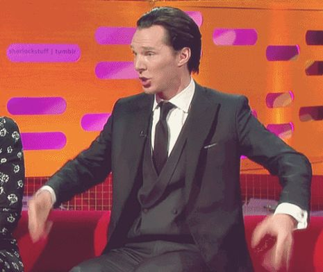 Shaking off the neutrons... *gif* from the Graham Norton Show... #Benedict!