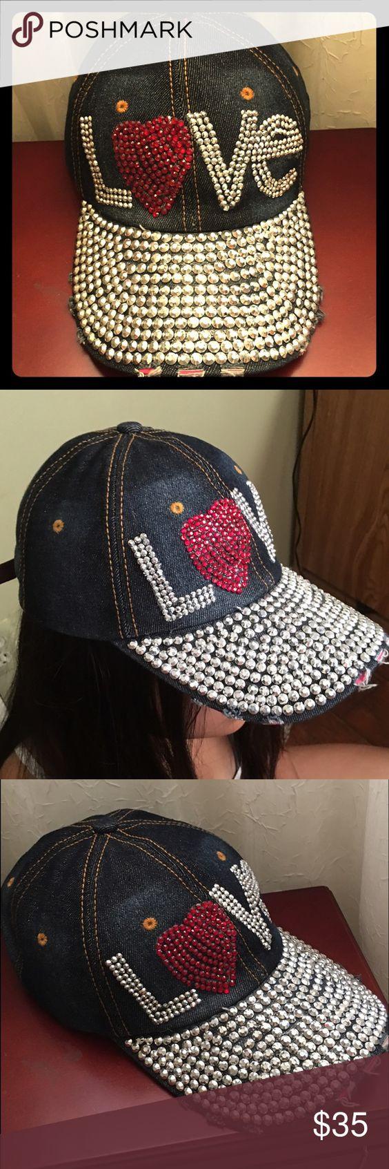 L❤️VE Rhinestones Denim Baseball Cap Beaituful Denim Rhinestones Baseball cap, adjustable size. NEW. Accessories Hats