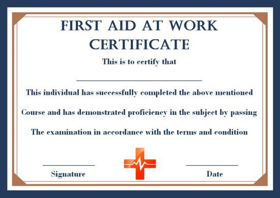 First Aid Certificate Template 15 Free Examples And Sample Templates Free Download Template Sumo Certificate Templates First Aid Certificate