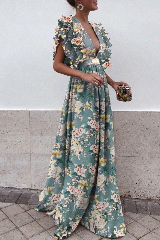 Sexy Deep V Collar Floral Printed Maxi Dress – streettide