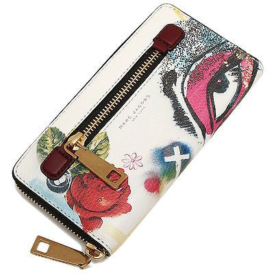 Marc Jacobs Collage Printed Leather Continental Zip Around Wallet-White Multi