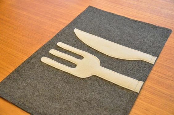 Fork and knife placemat