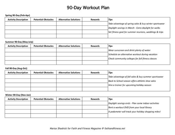 Day Work Plan Template   Fitness Programs