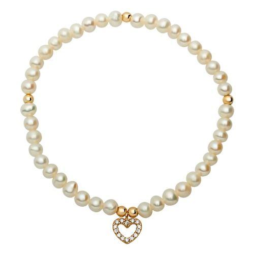 Modernes Perlenarmband mit herzförmigem Anhänger. Die Perlen sind echte Süßwasserperlen, der Anhänger in goldener Farbe ist mit Zirkonia besetzt.
