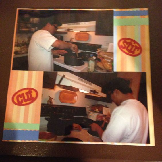Cooking: This is a 8 by 8 scrapbook page featuring Stir & Cut title made with Cricut Kitchen Cartridge.