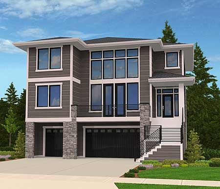 Plan 85102ms modern house plan for front sloping lot for Building a garage on a sloped lot