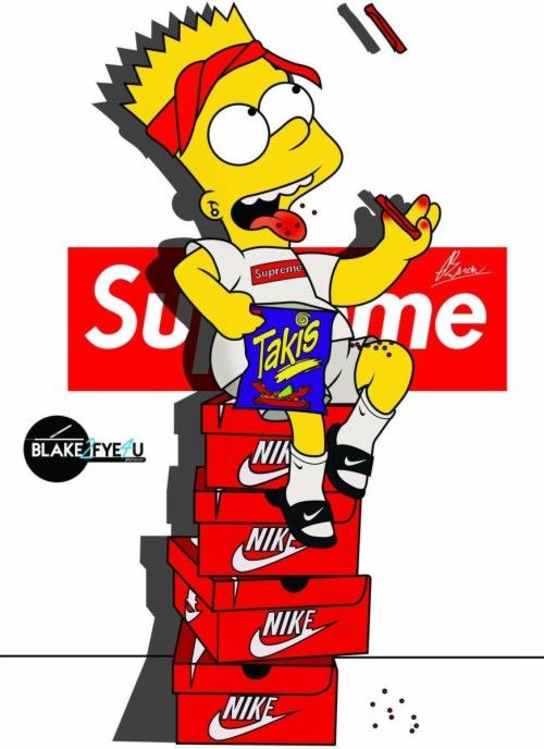Bart Simpson Nike Supreme Hd Wallpaper Backgrounds In 2020