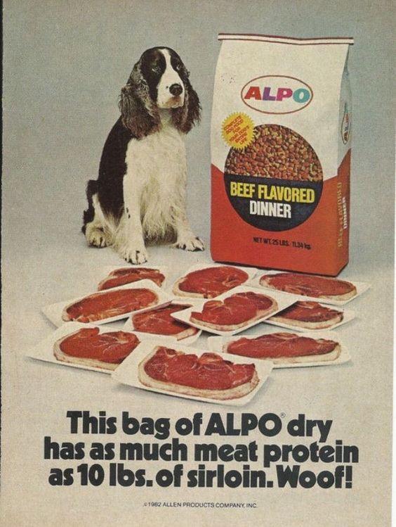 """Woof!""  Alpo Dry Dog Food  Circa 1982"