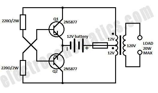 Here Is A Simple 12 Volts Dc To Ac Inverter Circuit This 120v Ac Power Source Is Built W Electronic Circuit Projects Electronic Schematics Electronics Circuit