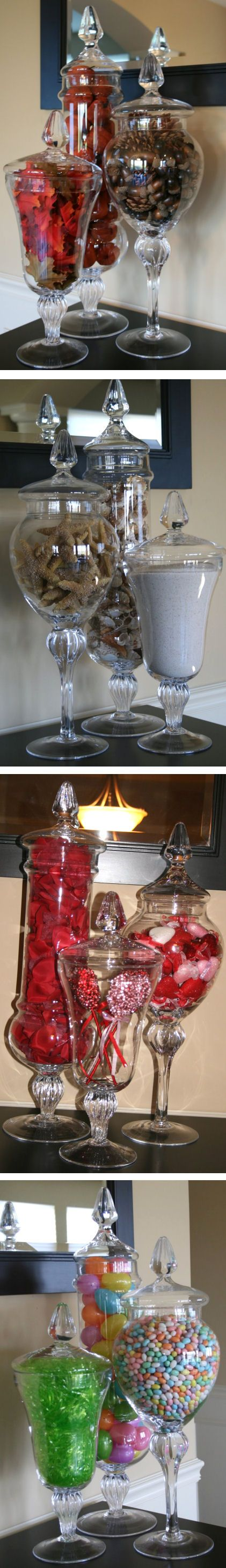 Seasonal Apothecary Jar Displays. Like the idea, could use any glass containers