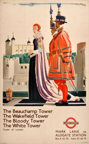 LT Tower of London Underground Andrew Johnson, 1935 - original vintage poster by Andrew Johnson listed on AntikBar.co.uk