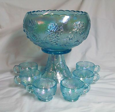 Westmoreland Ice Blue Carnival Glass Three Fruits Punch Bowl Set