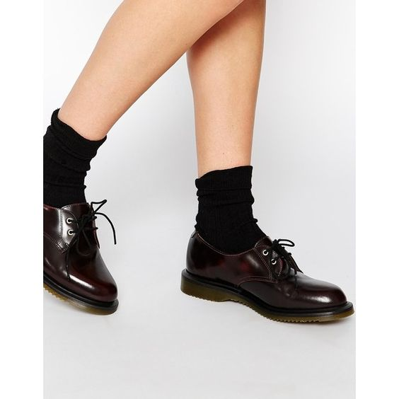 Dr Martens Kensington Brook 2-Eye Flat Shoes (117,355 KRW) ❤ liked on Polyvore featuring shoes, red, red shiny shoes, red shoes, leather lace up shoes, polish leather shoes and shiny shoes