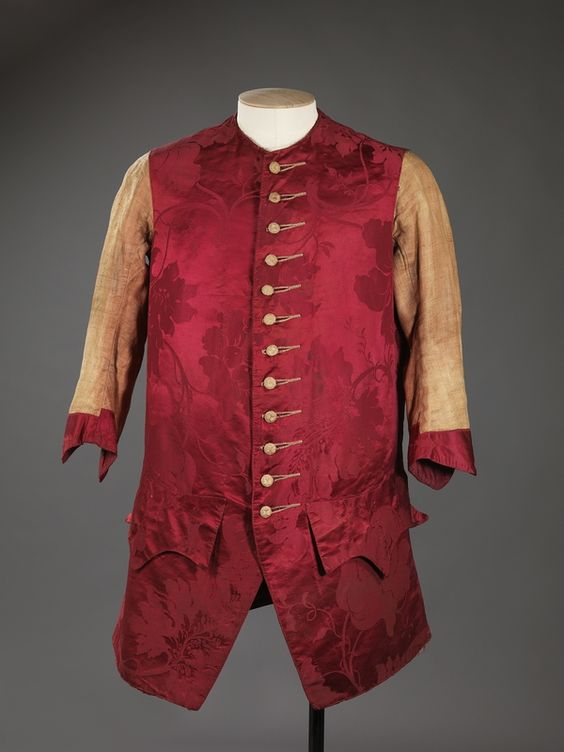 Long-sleeved waistcoat, Norway, mid 18th century. Red silk damask, linen lining.