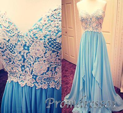 Pretty long prom dress with ruffles, blue lace chiffon prom dress for teens www.promdress01.c... #coniefox #2016prom