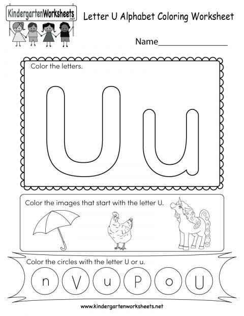 7 Letter U Worksheet For Kindergarten Preschool Worksheets Kindergarten Worksheets English Worksheets For Kindergarten
