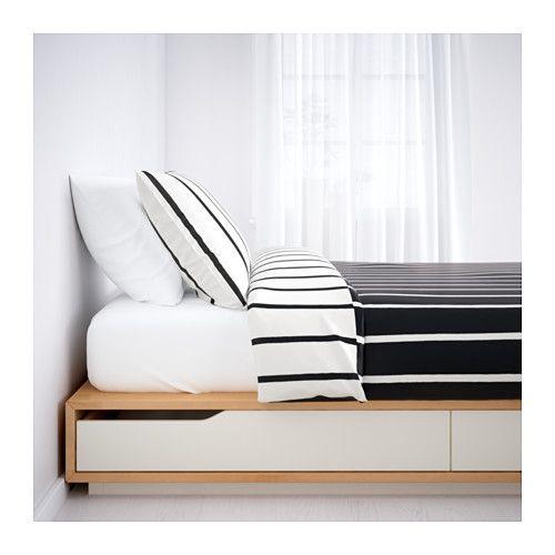 MANDAL Cadre lit avec rangement, bouleau, blanc  Têtes de