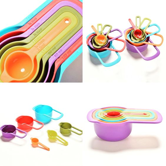 6 pcs Measuring cups and measuring spoons set! #colorful #MustHave Order here: http://www.thebatterhouse.com/colourful-measuring-cup-set