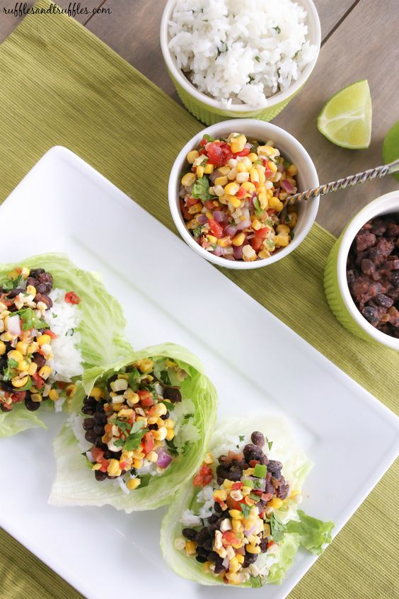 Black Bean Lettuce Wraps with Grilled Corn Salsa and Cilantro Lime ...
