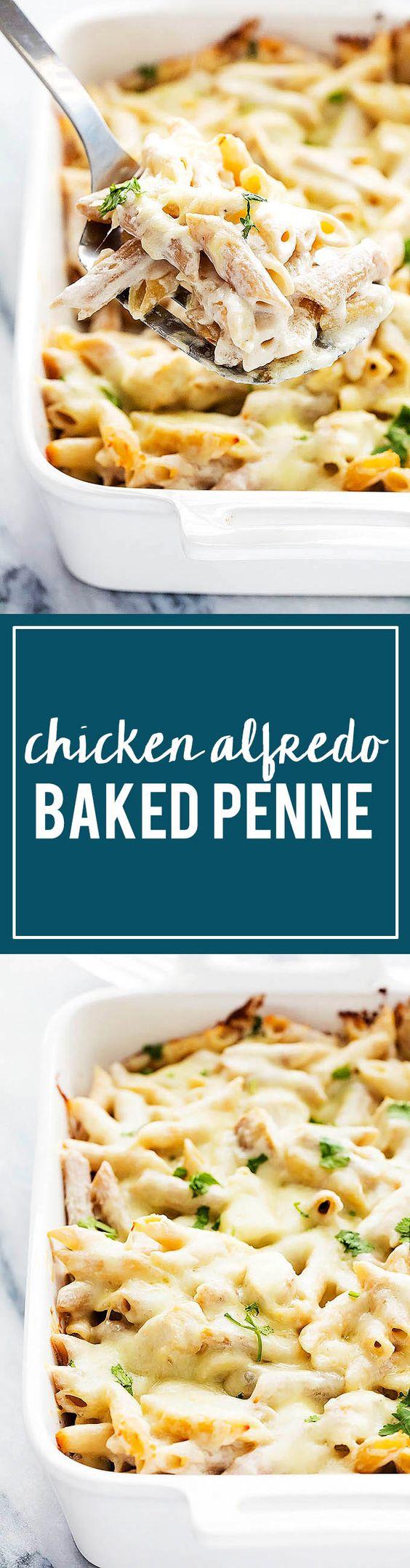 Chicken Alfredo Baked Penne   Creme de la Crumb