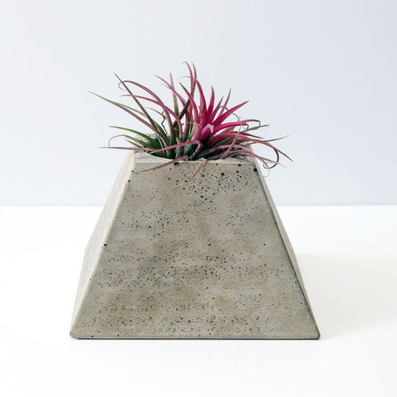 Pyramid Geometric Concrete Plant Pot Plant Included by OKConcrete: