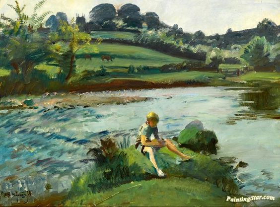 Withypool by the barle, exmoor Artwork by Sir Alfred James Munnings