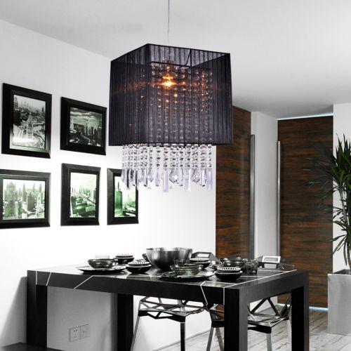 Modern-Black-Drum-Shade-Crystal-Chandelier-Ceiling-Pendant-Light-Fixture-Lamps