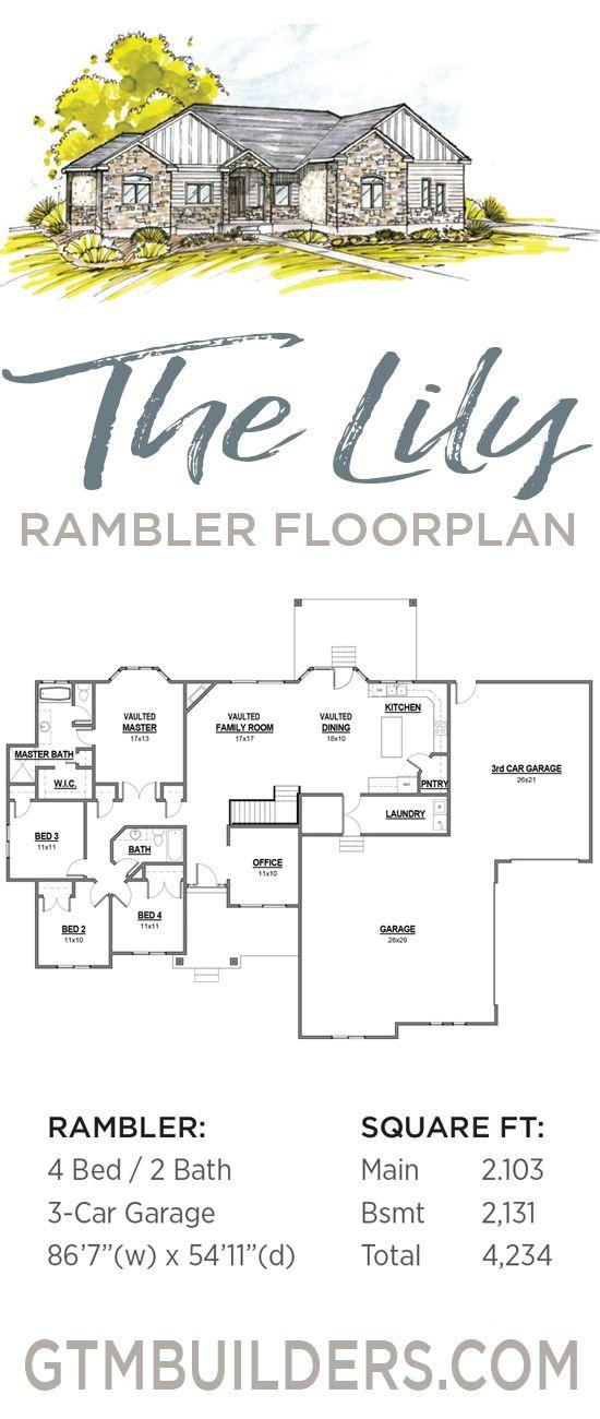 Gtm Home Builders Utah Rambler Floorplans Lily 2103 Rambler House Plans Craftsman Floor Plans Floor Plans