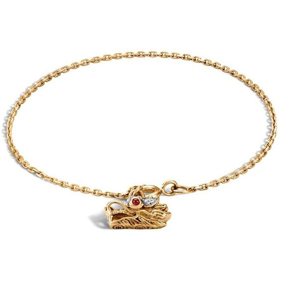 John Hardy 18K Gold Naga Diamond Pave Dragon Charm Bracelet with... ($1,325) ❤ liked on Polyvore featuring jewelry, bracelets, gold, african jewelry, 18k gold bangle, gold charm bracelet, ruby charm and ruby jewelry