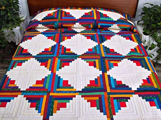 Log Cabin Quilt -- terrific skillfully made Amish Quilts from Lancaster (hs4302)