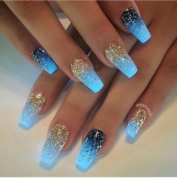Nails By Emonjah Short Blue Acrylic Nails Classy Nail Designs