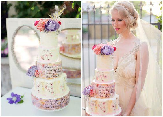 romantische Hochzeitstorten mit Lieblingszitat oder Vers in 20er Jahre Vintage Hochzeit Inspiration für die 20er Jahre Vintage Hochzeit