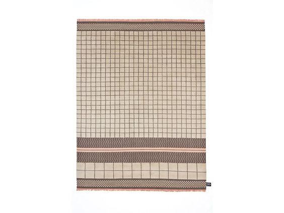 Handmade wool rug with geometric shapes QUADRO CELESTE