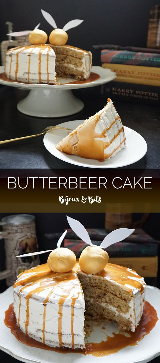 harry potter-inspired butterbeer cake