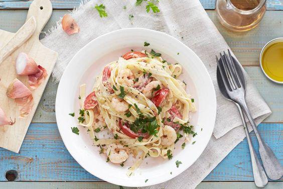 Pasta met romige garnalen,  wel zonder groenten....
