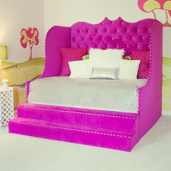 Tufted daybed with storage steps is told to be: Every girls dream bed. Who would not feel like a princess in this majestic day bed? Beautiful and