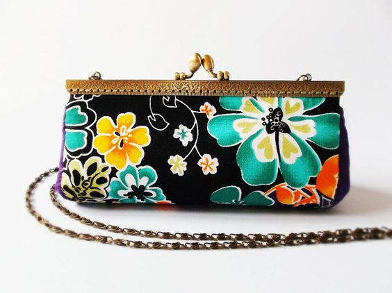 Clutch purse / Clutch wallet / Cosmetic bag / Kiss by DooDesign, $54.90