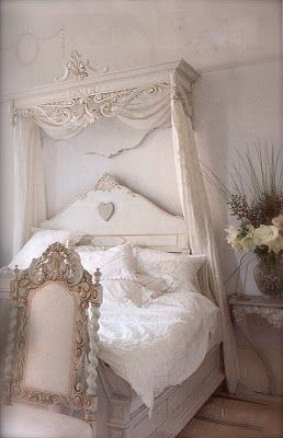 Romantic Shabby Chic - top wall fixture with white string lights behind sheer curtains for a headboard WANT in color- white/sky blue/baby pink combo.